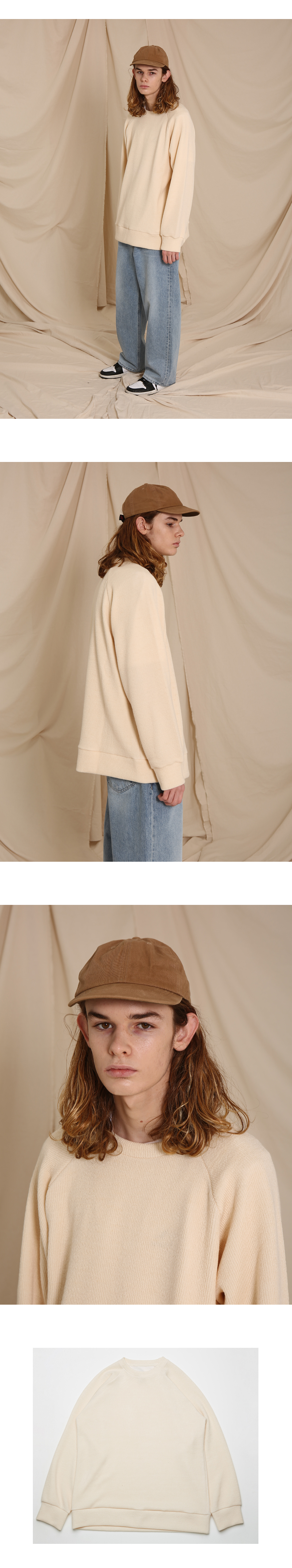 OVER FIT ROUND NECK KNIT(IVORY)